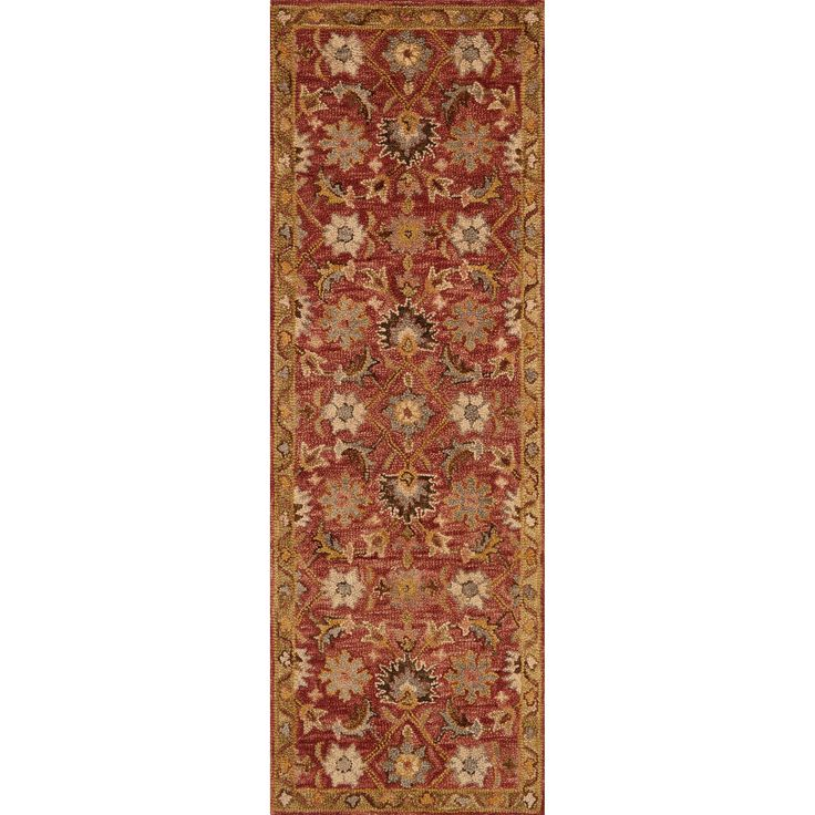Alexander Home Hand-hooked Owen Terracotta/ Gold Wool Runner Rug (2'6 x 7'6) (Terracotta/ Gold (2'6 x 7'6)), Red Rust