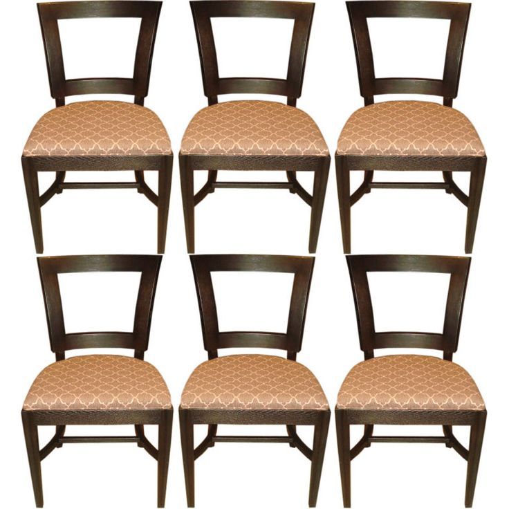 Set Of 6 1940u0027s Dining Side Chairs With Cut Out Design In Back | From A