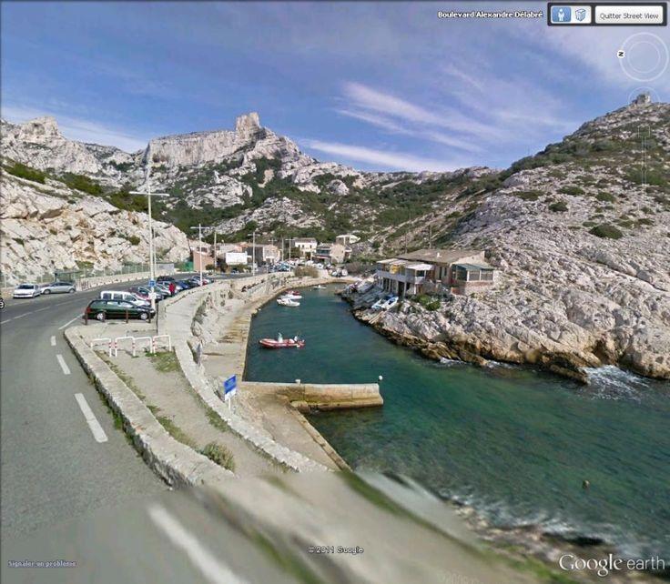 """Le rocher des Goudes depuis la calanque de Callelongue, Marseille. 43°12'44.22""""N 5°21'8.46""""E"""
