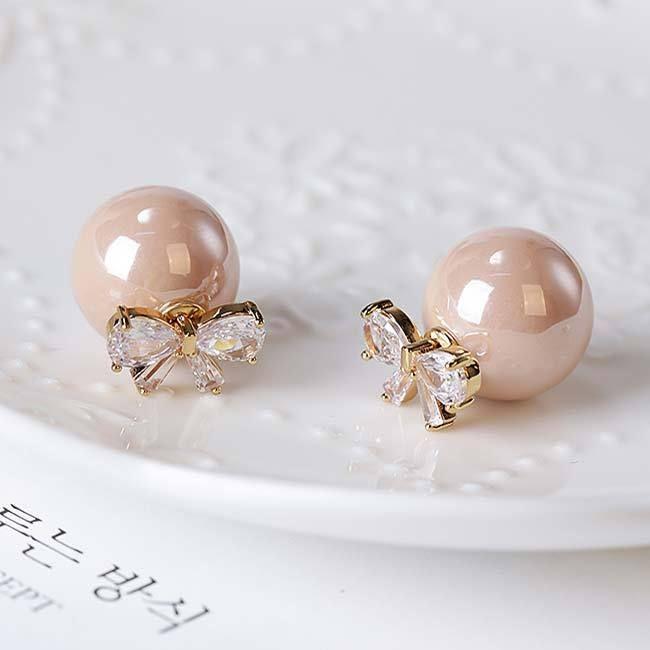 Elegant Bow Zircon Pearl Round Dual-purpose Lady Earring Studs