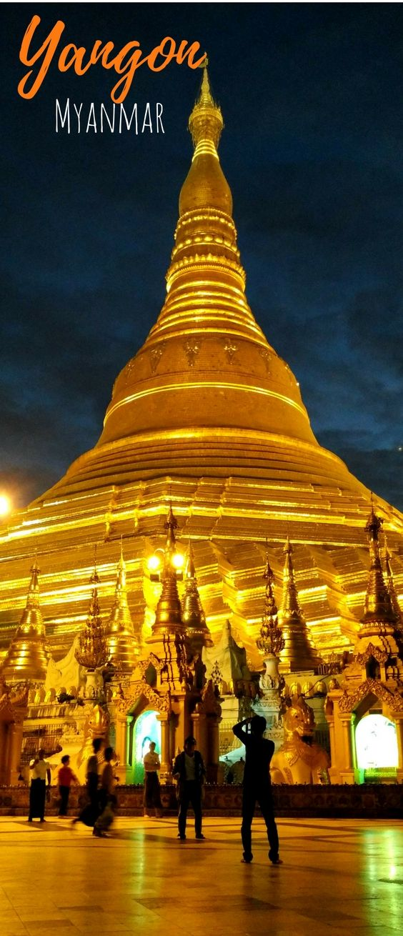 Shwedagon Pagoda at night - this is the pride of Myanmar and it's in Yangon. Check out this post about awesome things to do in Yangon, Myanmar