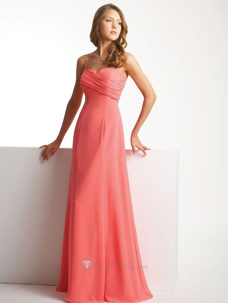 Salmon colored party dresses