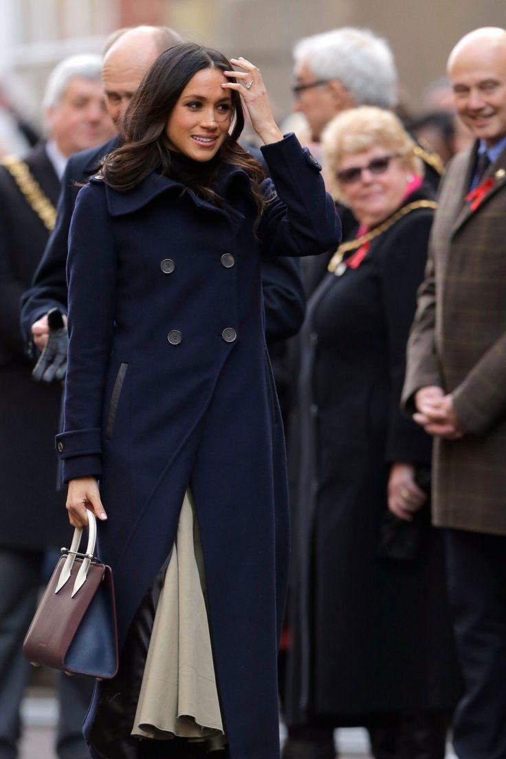 "Ms. Meghan Markle.. Mackage Elodie Double Breasted Military Coat, Wolford Portland Turtleneck, Joseph Laurel Full Midi Skirt, Kurt Geiger ""Violet"" Over-the-Knee Boots, and Strathberry Midi Tote.. #MeghanMarkle #MarkleSparkle #MeghanEffect #MegHarry #Fiancee #Engaged #Engagement #MeghanAndHarry #PrinceHarryAndMeghanMarkle #RoyalEngagement #Royalty #HarryAndMeghanEngaged #royalwedding2018"