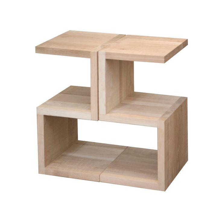 Solid raw oak S side table