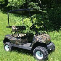 Hydro Dipped Camo Golf Cart fully refurbished! We can do any pattern you like!