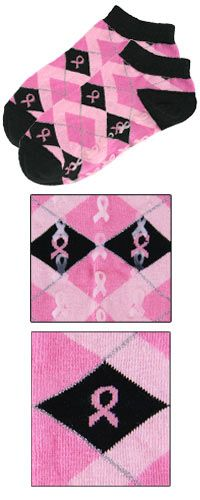 Pink Ribbon Argyle Slipper Socks at The Breast Cancer Site. I can't believe I don't have a pair of each already♥