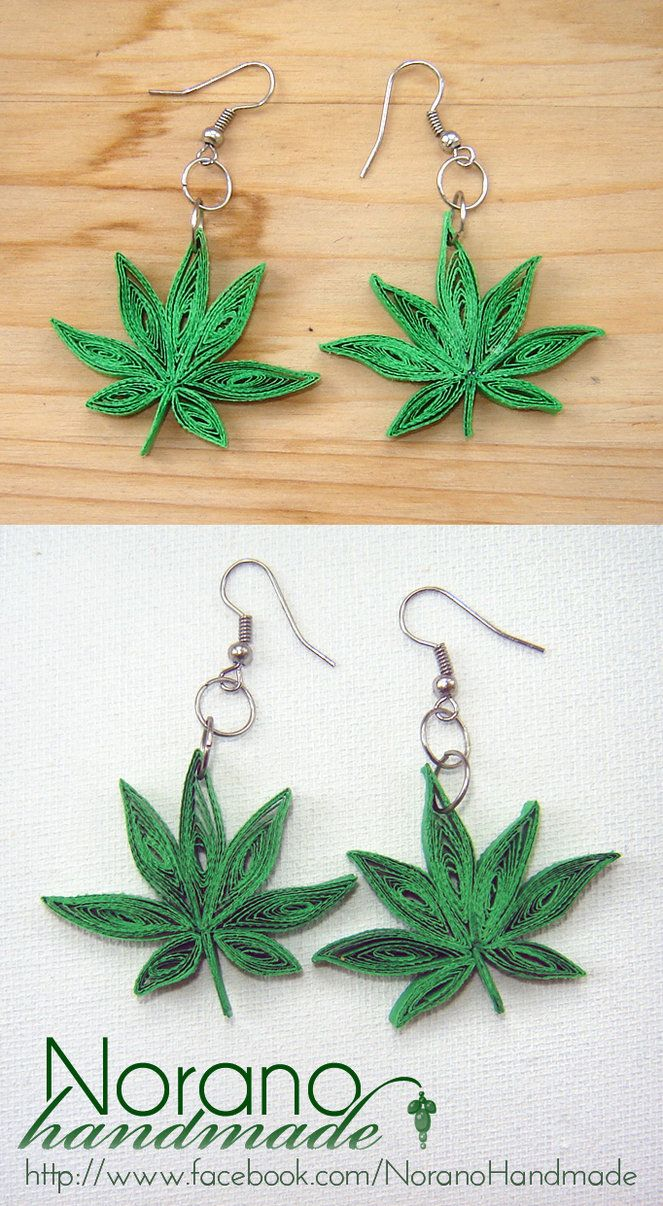 Quilled Earrings - Marijuana Leaves by norano-handmade on DeviantArt