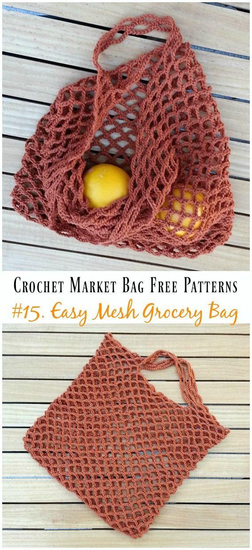 Einfaches Netz-Einkaufstasche-Häkelarbeit-freies Muster – #Crochet ...