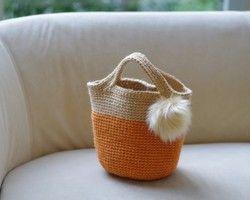 Большой животик мех Очарование с корзиной мешок (оранжевый)