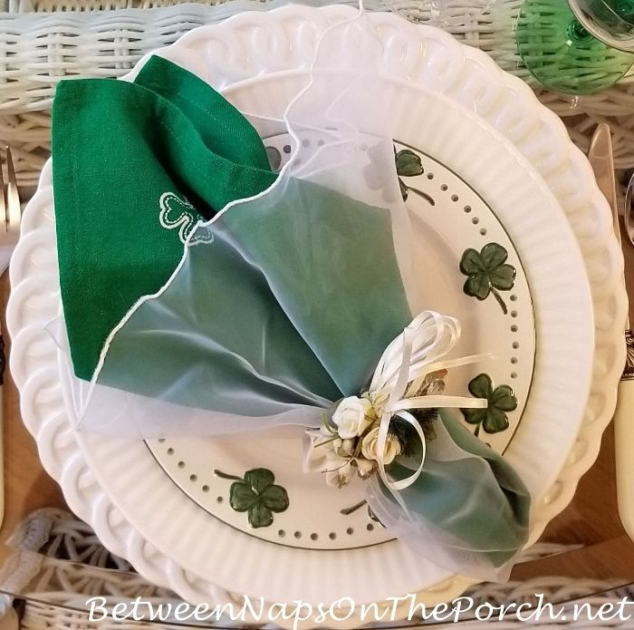St. Patrick's Day Table with Limelight Hydrangeas & Belleek Pottery Centerpiece, sweet tablescape with shamrock decorated plate and napkin #setthetable