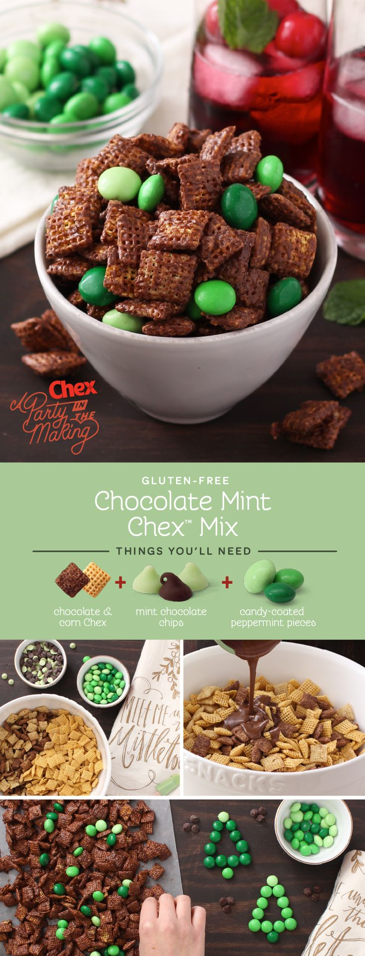 Chocolate + mint is a must during the holidays, and this festive snack mix is a simple (and gluten free) way to serve up your favorite flavor! With just four ingredients, Homemade Chocolate Mint Chex Mix will be your new go-to holiday party treat.