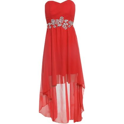 this jewel embellished sleeveless chiffon flow drop back dress with