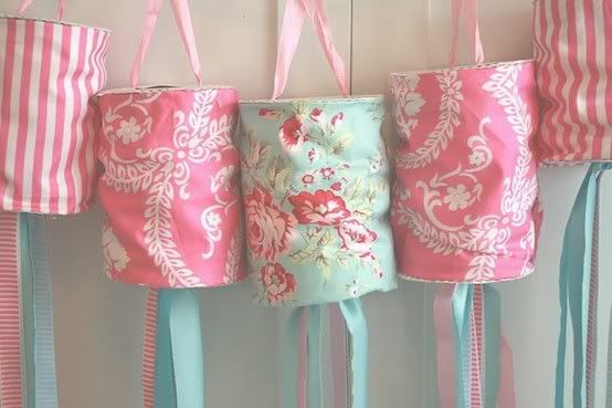 cover tin cans with fabric