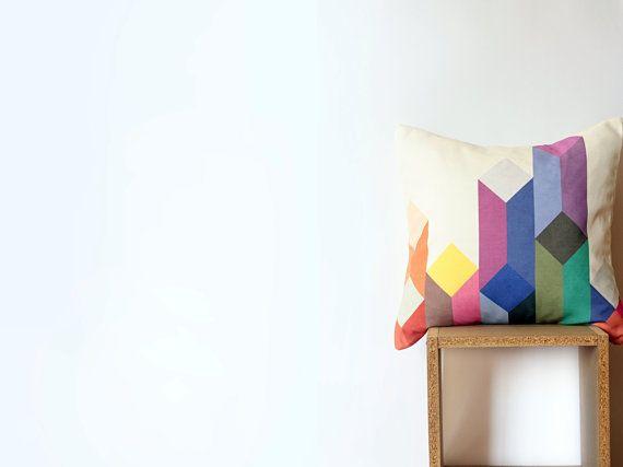 White Geometric Pillow with Pastel Purple Violet Fuchsia by Nirwa