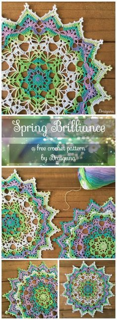 """This free doily pattern is available now on my blog! Spring Brilliance is 18 rounds and measures about 10 1/2""""."""