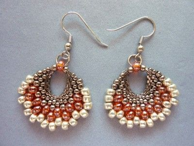 FREE beading pattern for earrings made entirely from different size seed beads, woven into a fan shape using peyote stitch.
