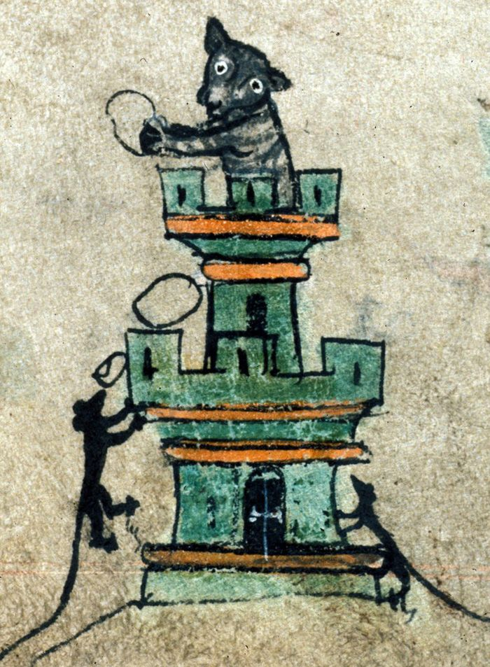 Detail of a miniature of mice laying siege to a castle defended by a cat; from a Book of Hours, England (London), c. 1320-c. 1330, Harley MS 6563, f. 72r.  http://britishlibrary.typepad.co.uk/digitisedmanuscripts/2013/01/lolcats-of-the-middle-ages.html