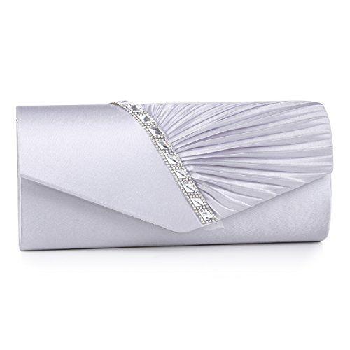 Damara Elegant Strassstein Damen Abendtasche Handtasche,Silber