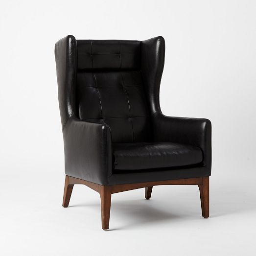 """James Harrison Wing Chair - Leather 29.5""""w x 33.5""""d x 45""""h."""