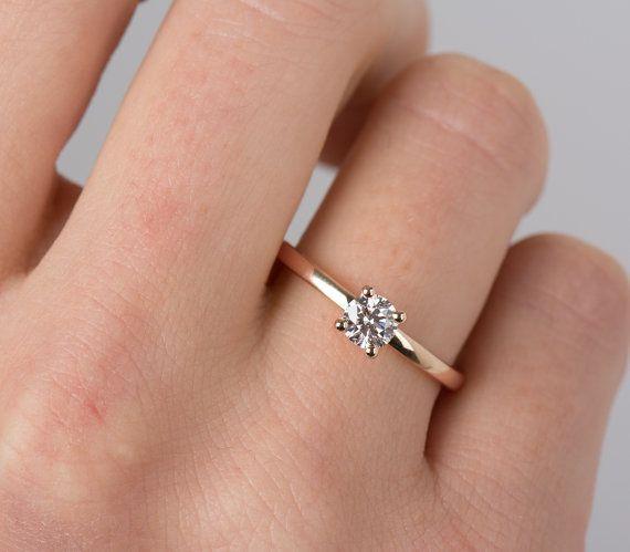Square Cut Diamond Ring in 14k Rose Gold Minimalist Engagement Ring Delicate Diamond Ring Dainty Diamond Ring Bridal Ring