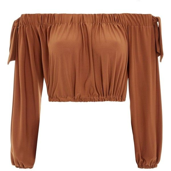 Long Sleeve Bardot Top by Love ($39) ❤ liked on Polyvore featuring tops, brown, brown long sleeve top, long sleeve tops and brown top