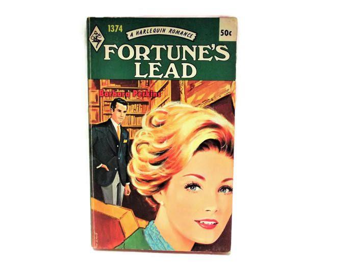 Vintage Harlequin Romance Novel/ Fortune's Lead by Barbara Perkins/ Retro 1970's Cover Art/ Vintage Bookshelf Decor/ Late Night Reading by KMVintageTreasures on Etsy