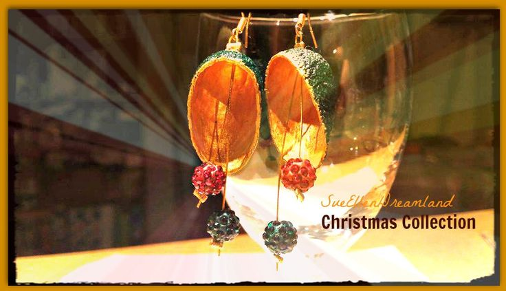 Affordable Handmade Silk cocoon earrings, Christmas gift for Her,OOAK ,natural jewelry,Ready to ship,Dangle earrings,red green gold,EGST by SueEllenDreamland on Etsy