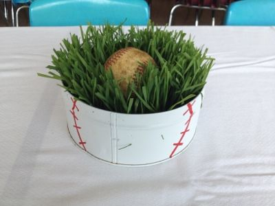 baseball centerpiece ideas | ... tin spray painted white. Baseball details painted with a paint pen