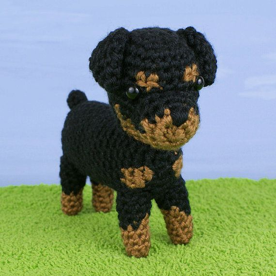 ***Please note that I sell PDF crochet patterns (see Delivery Information below), NOT completed items! As such, all sales are FINAL.***    A crochet amigurumi Rottweiler dog pattern. AmiDogs: Rottweiler is an original crochet pattern by June Gilbank.   Pattern includes full instructions to make your own amigurumi Rottie puppy. Yarn: worsted weight yarn in black and tan/brown    Hook: US E / 3.5mm    Size: approx 6.5″ long      DELIVERY INFORMATION  This/these pattern(s) will be downloadable…