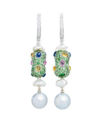 554d30297 Margot Mckinney Jewelry Linear Sapphire, Diamond & Baroque Pearl Drop  Earrings in 18K White Gold