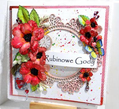 Heartfelt Creations, kolorowanie stempli, kwiaty ręcznie robione, promarker, Santoro, ślub, kartki, wedding ruby anniversary stamps, card