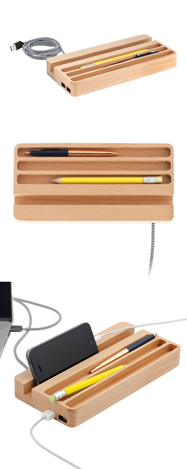 Let your phone, tablet and other essentials rest and recharge on this sleek wooden desk organizer and USB port. There's also space for your favorite pens and business—sans the clutter and fuss.  Find the Downtime Desk Charging Station, as seen in the Gifts For Grads Collection at http://dotandbo.com/collections/gifts-for-grads?utm_source=pinterest&utm_medium=organic&db_sku=116919