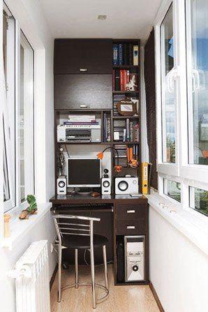 Рабочий кабинет на балконе - Разное - Мебель - Фотоальбомы - БюроМебели ВсеПоПолочкам - мебель под заказ Черновцы