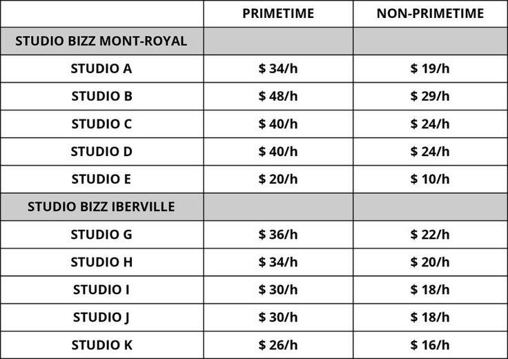 Studio Bizz | Location de studios à Montréal