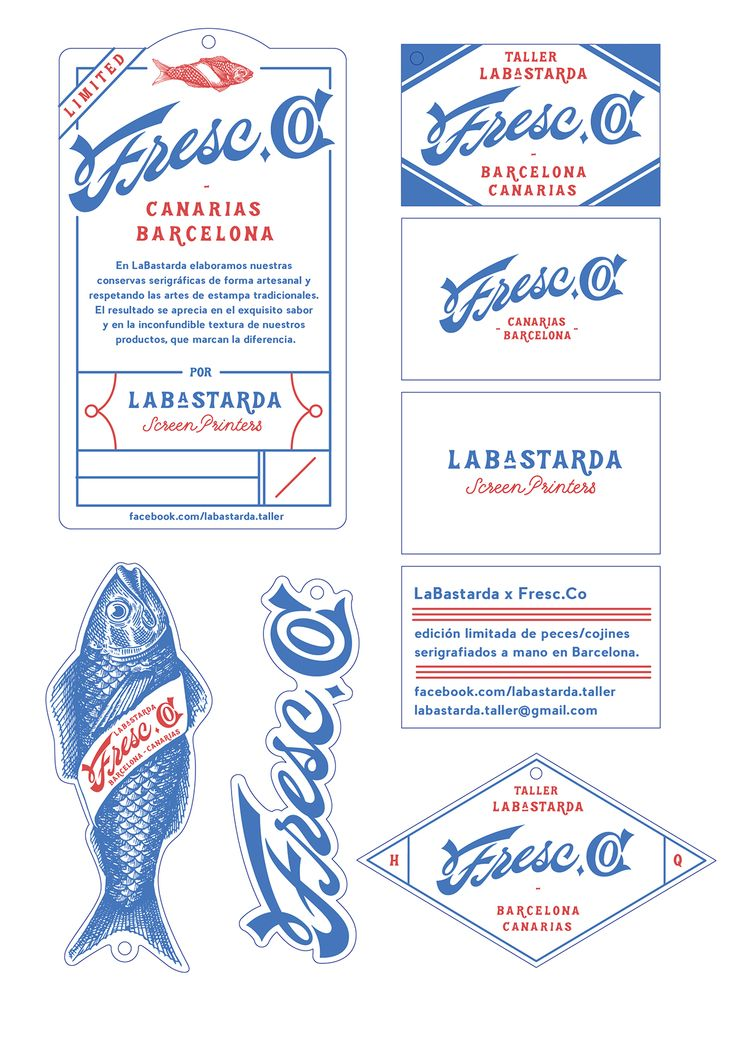 Fresc Co. by Erques Torres & Jana Fontdevila | Serigraphy, Screen printing, fish, blue, red, type | Spain