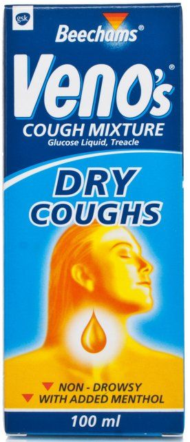 venos Dry Cough Mixture X 100ml Beechams Venoampampamp39s Cough Mixture for Dry Coughs quickly soothes dry, hacking, nonproductive coughs and sore throats without causing drowsiness, Symptomatic relief of dry, irritating, unproducti http://www.MightGet.com/january-2017-11/venos-dry-cough-mixture-x-100ml.asp