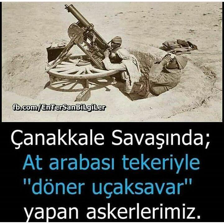 """Çanakkale savaşında """"at arabası tekeriyle döner uçaksavar yapan"""" askerlerimiz... #OsmanlıDevleti"""