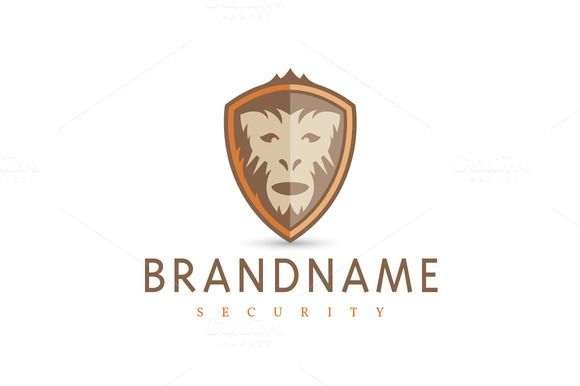 For sale. Only $29 - brown, orange, memorable, crest, modern, safety, protection, defense, strength, support, primate, animal, head, fur, ape, monkey, face, shield, escutcheon, security, bulwark, logo, design, template,