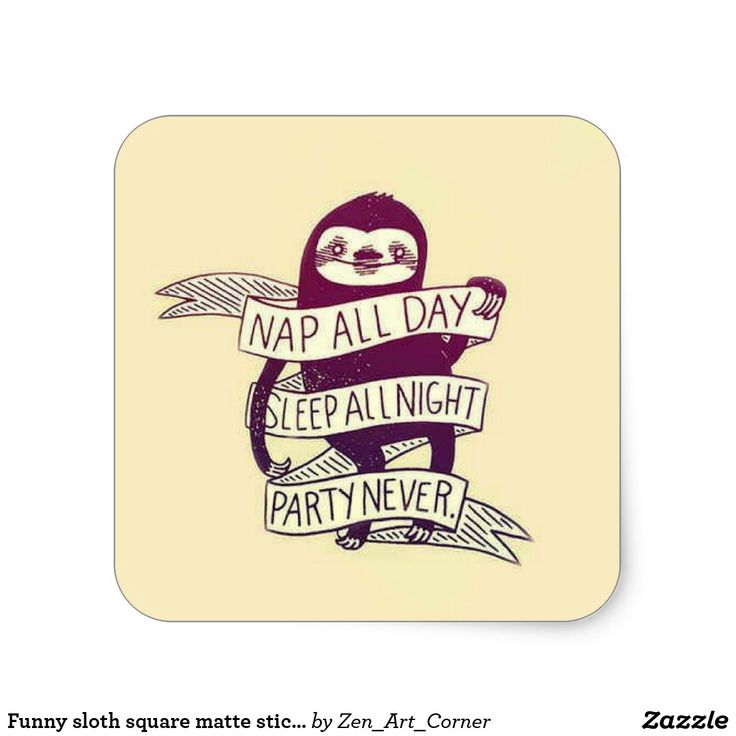 Funny sloth square matte sticker