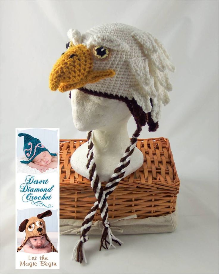 Crochet Pattern 072 - Eagle Hat - All Sizes by desertdiamond on Etsy https://www.etsy.com/listing/106990915/crochet-pattern-072-eagle-hat-all-sizes