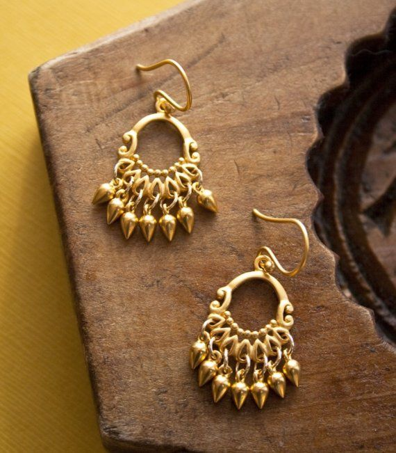 Candelabro oro pendientes joyas de oro veranillo por laurastark