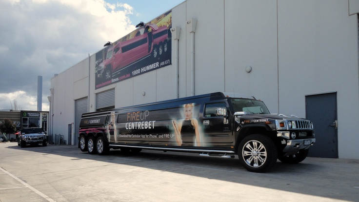 Centrebet will be using this stretch hummer as a mobile billboard for the next 6 weeks, Melbourne Spring Racing Carnival