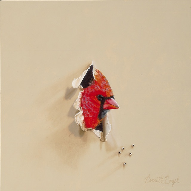 """""""Can You Hear Me Now?"""" Male CardinalTrompe-l'oeil Bird Oil Painting by Camille Engel by CamilleEngelArt, via Flickr"""