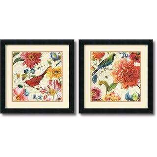 Lisa Audit 'Rainbow Garden Cream' Framed Art Print Set