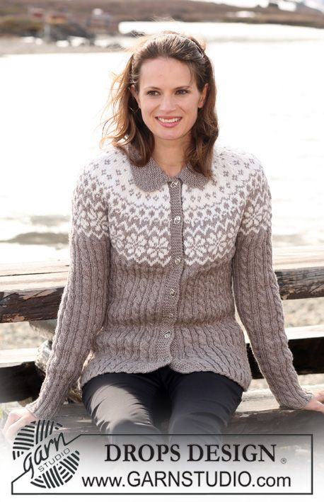 """DROPS Jacket in """"Karisma"""" with Norwegian pattern, cables and raglan sleeves…"""