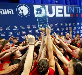 Usaswimming.org   Team USA won the 2015 Mutual of Omaha Duel in the Pool.   MUTUAL OF OMAHA DUEL IN THE POOL TO BE BROADCAST SATURDAY (Posted 12/14/2015)