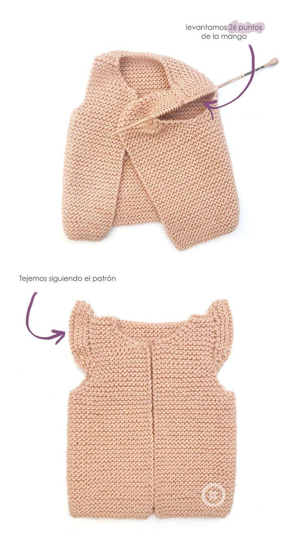 Cómo hacer un chaleco de punto de bebé con volantes en las mangas DIY - Tutorial y Patrón #bebe