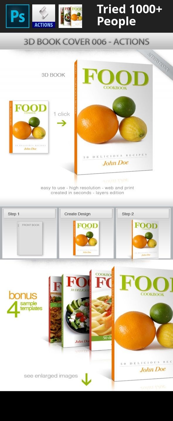 3d mockup, action, actions, art, book, book mockup, books, cover, e-book, ebook cover, ebook mockup, ebookcover, food, gourmet, mock up, mock-up, mockup, mockups, photoshop actions, product mockup, web marketing Photoshop action to create book/ebook covers in a few seconds.    The final file has layers for editing. Can be adjusted shadow, brightness, opacity, colors, etc. Format Cover: 2100px X 3300px. Format Spine: 200px X 3300px. High resolution, use for print or web. Requires Photoshop…
