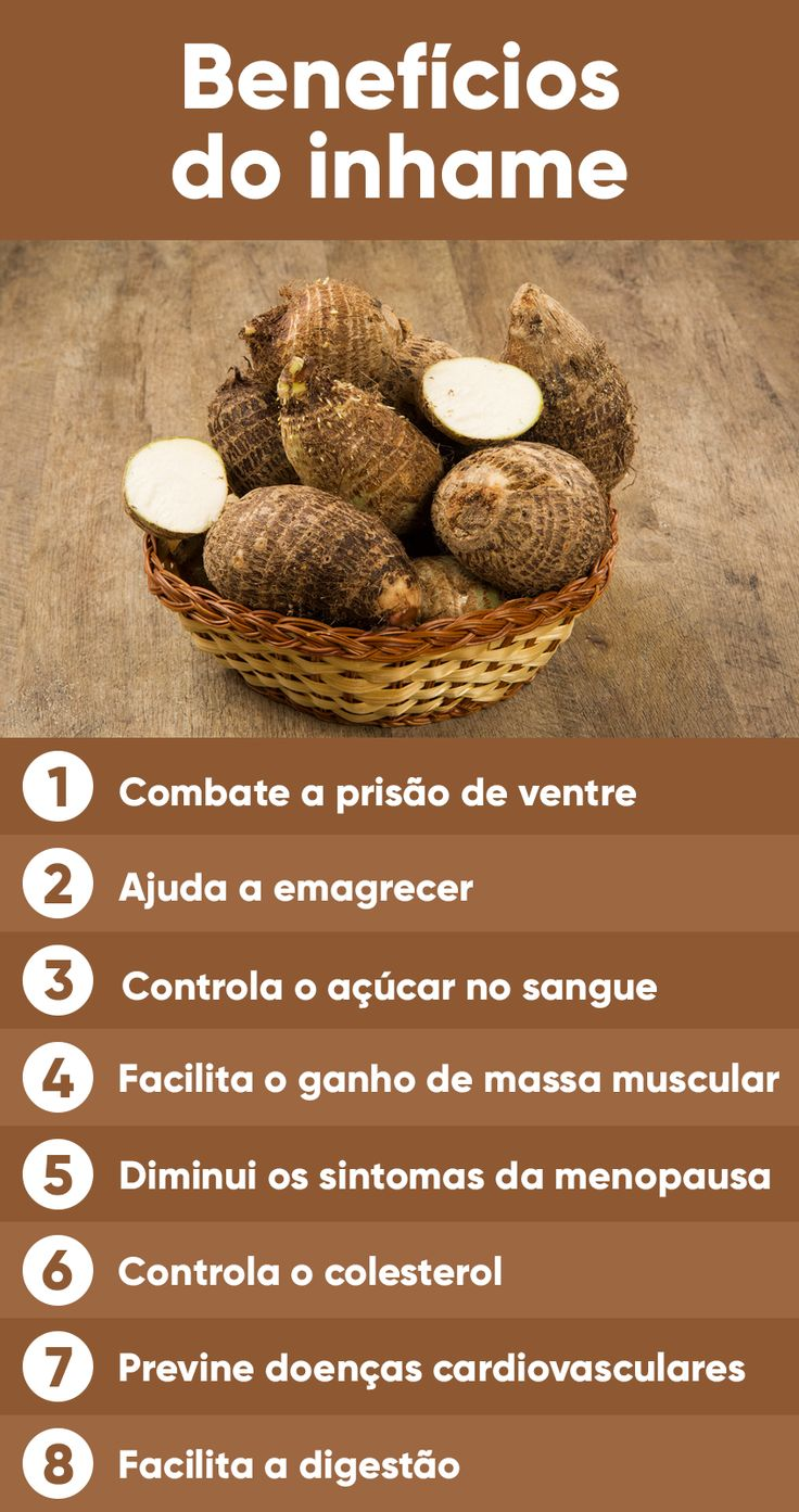 O inhame, também conhecido como cará em algumas regiões do Brasil, é um tubérculo rico em carboidratos de baixo índice glicêmico, sendo uma ótima opção para dar energia durante a atividade física e para auxiliar na perda de peso.