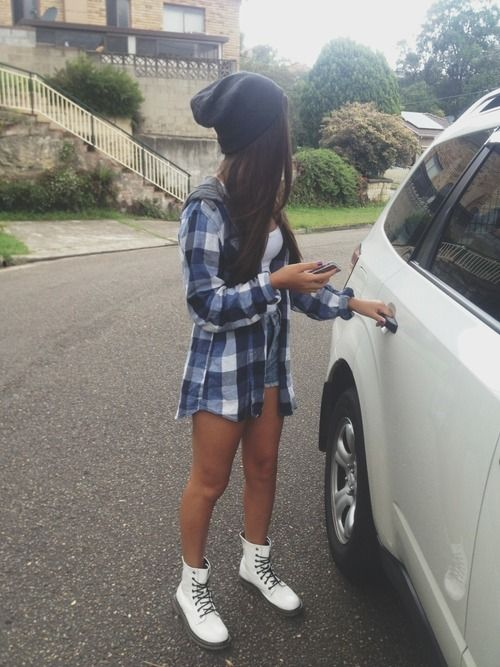 Beanie blue flannel white tank high waisted shorts white doc martens